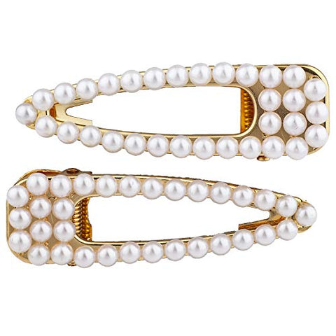 Lux Accessories Set of 2 White Pearls Triangle Goldtone Hair Clip Bridal Hair Pin Barrette