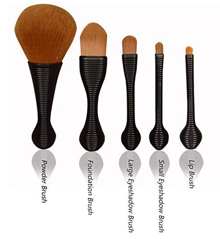 BYAMD 5 pieces Makeup Brushes Premium Quality Synthetic Foundation Flawless Powder Cosmetics Portable Brushes Kits(Black)