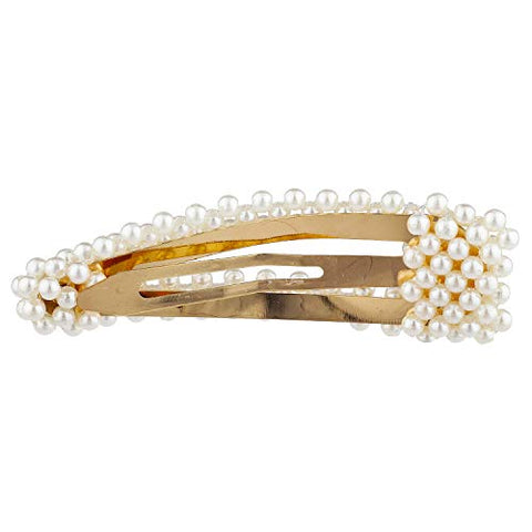 Lux Accessories White Pearl Set of 2 Goldtone Hair Clip Bridal Wedding Barrette