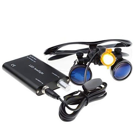 New Different 5 Colors to Choose for Surgical Medical Binocular Loupes 3.5X420mm Optical Glass Black + LED Head Light with Fast Delivery Fedex