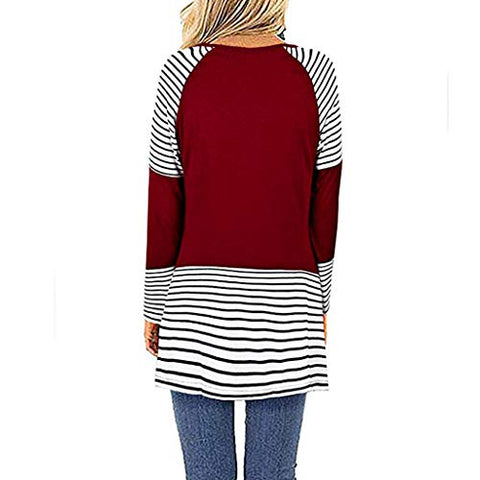 KASAAS Womens Tops, Vintage Stripes Patchwork V-Neck Long Sleeve Casual Baggy Pullover Tunic Sweatshirts Blouses(M,Wine)