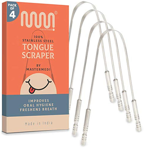 100% Stainless Steel Tongue Scraper - 4 Pack, Fights Bad Breath, Great for Oral Care, Medical Grade Tongue Cleaner for Adults and Kids, Easy to Use with Non-Synthetic Handle