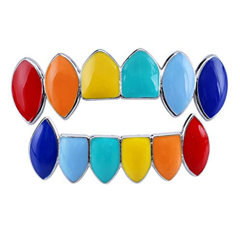 Milisten Rainbow Hip Hop Teeth Copper Tooth Cap Jewelry Teeth Mouth Fangs Top Bottom Tooth Party Decoration Silver