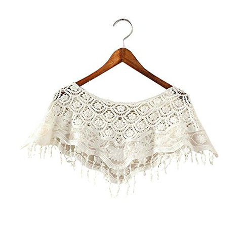 Women's Hollow-out Shawl Capelet Short Shirt Blouse, WHITE