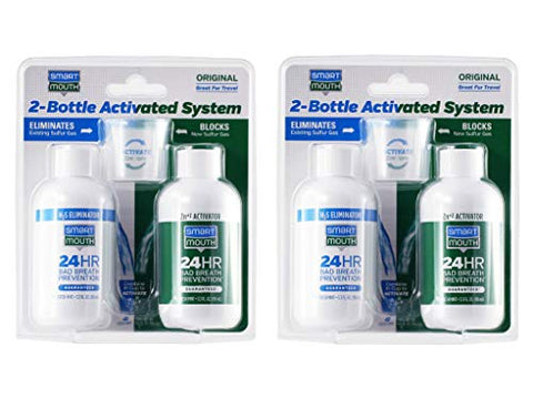 SmartMouth Original Mouthwash 3.3oz 2-Bottle Activated System for 24-Hour Bad Breath Protection, 2-Pack