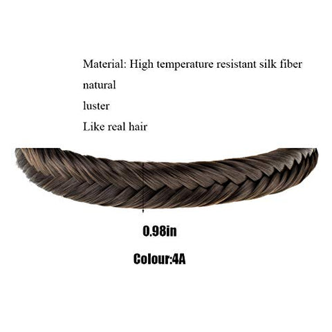 TOECWEGR Fishtail Hair Brai 9 Strands Synthetic Hair Braid Headband Classic Thick Braided Elastic Multicolor Shape Ladies Beauty headdress (4A)