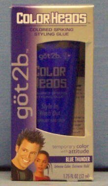 Got2b Color Heads Colored Spiking Styling Glue Blue Thunder 1.75 Oz (50 Ml)