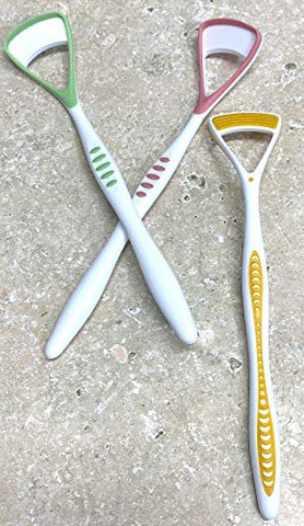 2pc RANDOM Colors Tongue Cleaner - Easy Grip Dual Head Tongue Scraper & Brush
