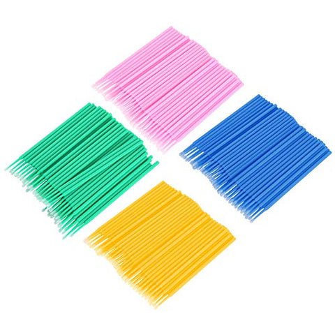 Lightweight Disposable Cotton Swabs, 400pcs 4 Colors Eyelash Cleaning Stick Eyelashes Light Lipstick Make Up Micro Brush
