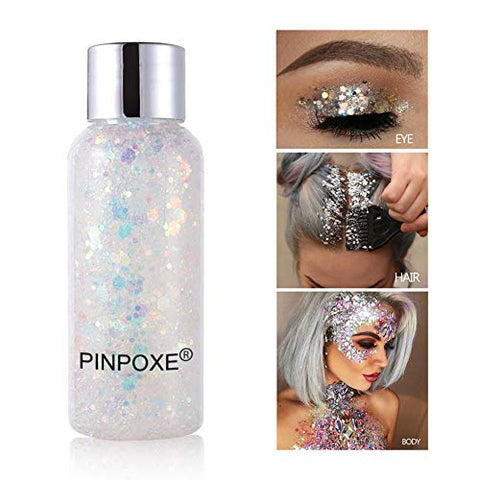 Body Glitter, Glitter Body Gel, Long Lasting Sparkling, Mermaid Scale Face Body Sequins, Holographic Chunky Glitter, Flash Cream Eye Shadow Colorful Polarized Stage Makeup