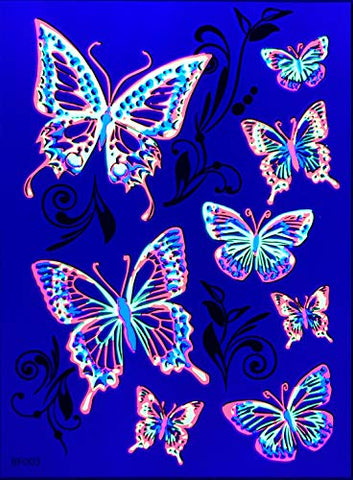 Blacklight Glow Party Temporary Tattoo-1 Sheet -Buttterfly