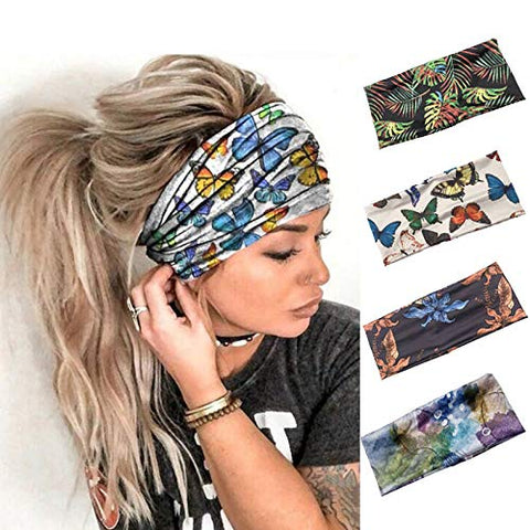 ELABEST Boho Wide Elastic Headband Stretchy Printing Bandana Bandeau Sport Hairband Yoga 4Pack Headwear for Women and Girls