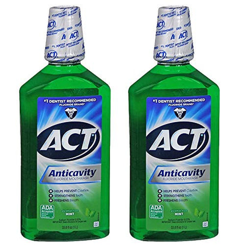 ACT Fresh Mint Anticavity Fluoride Mouthwash, 2 ct./33.8 oz.