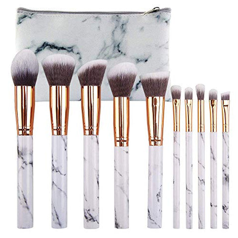LETGO 10Pcs Marble Makeup Brushes Set Gift