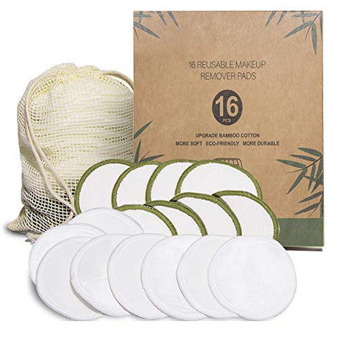 Reusable Make Up Remover Pads 16 Bamboo Removal Pads 3 Layers Laundry Bag Washable Eco-friendly Natural Bamboo Cotton Rounds For All Skin Types Face Cleaner Eye Make Up Remover Pads Zero Waste Makeup
