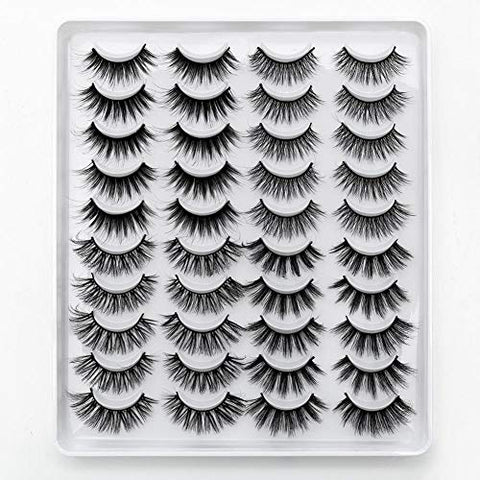 5/20 Pairs 3D Mink Hair False Eyelashes Natural Long/Thick 3D Eyelashes Crisscross Full Strip Lashes Handmade Eyelashes (20 Pairs)