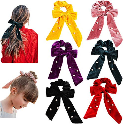 6PCS Bowknot Hair Scrunchies Elastic Hair Bands Scrunchy Velvet Pearls Hair Bows Ties Ponytail Holder Elegant Hair Accessories for Women Girls Teens