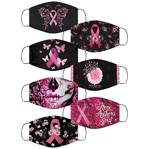 7 Pack World Cancer Day Breast Cancer Awareness Pink Ribbon Face Bnadanas, Owill Reusable Washable Comfy Face Bandanas for Adults, Breast Cancer Survivors Gifts (7 Pack)