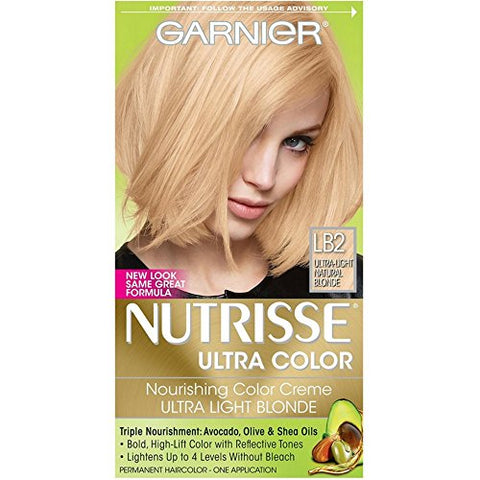 Garnier Nutrisse Ultra Color Nourishing Permanent Hair Color Cream, LB2 Ultra Light Natural Blonde (1 Kit) Blonde Hair Dye (Packaging May Vary), Pack of 1