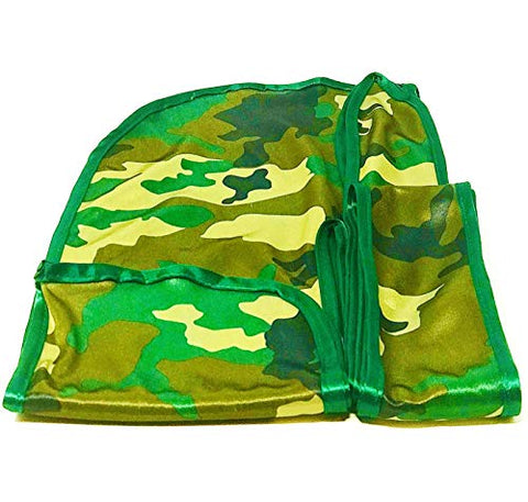 Rimix Patented Silky Durag 360, 540, and 720 Waves Extra Long and Wide Straps Limited Edition (Green Camouflage/Green 2.0)