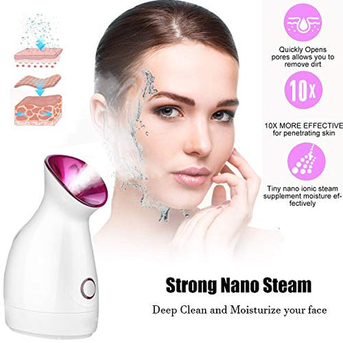 Nano Ionic Face Steamer, Wolady 3 in 1 Home Sauna SPA Facial Warm Mist Humidifier Steamer with Stainless Steel Skin Kit for Pores Cleanse Clear Blackheads Acne Impurities Skin Cares