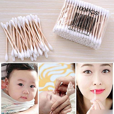 Pro Double Head Cotton Swab Women Makeup Cotton Buds Tip For Medical Wood Sticks Nose Ears Cleaning Health Care Tools (pack 5)