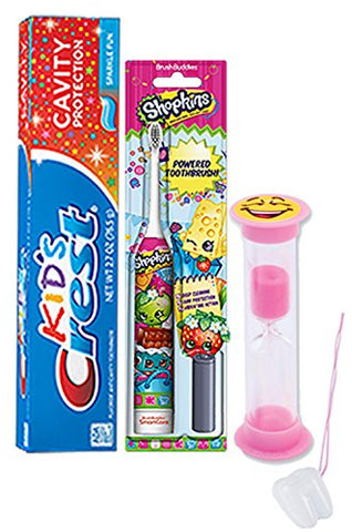 Shopkins 3pc. Bright Smile Oral Hygiene Set! Shopkins Turbo Powered Toothbrush, Crest Kids Sparkling Toothpaste & 2 Minute Teeth Brushing Timer! Plus Bonus