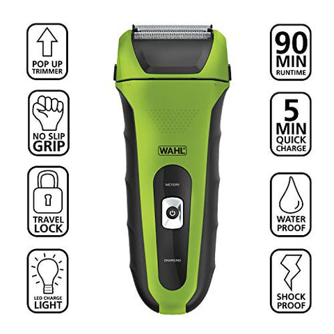 Wahl Lifeproof Lithium Ion Foil Shaver - Waterproof Rechargeable Electric Razor With Precision Trimmer for Men'S Beard Shaving & Grooming with long Run Time & Quick Charge, Green - model 7061-2101