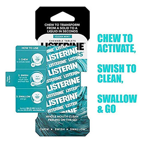 Listerine Ready! Tabs Chewable Tablets With Clean Mint Flavor, Revolutionary 4-hour Fresh Breath Tablets To Help Fight Bad Breath On-the-go, Sugar-free & Alcohol-free, 56 Ct (Limited Edition)