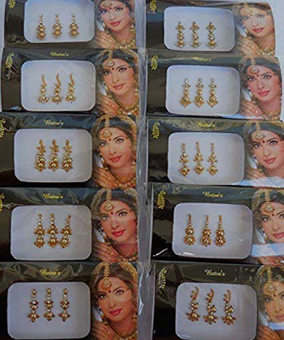 IFH Indian Tattoos Stickers Bindi Glitter Sparkling Body Tattoo Art Sticker Lot of 24 Packs