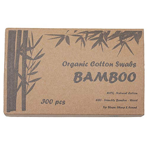 Two Tips I Bamboo Cotton Swabs I 300ct Biodegradable I Organic I Natural Cotton I Plastic Free I Ecological Choise to Reduce Your Carbon Footprint