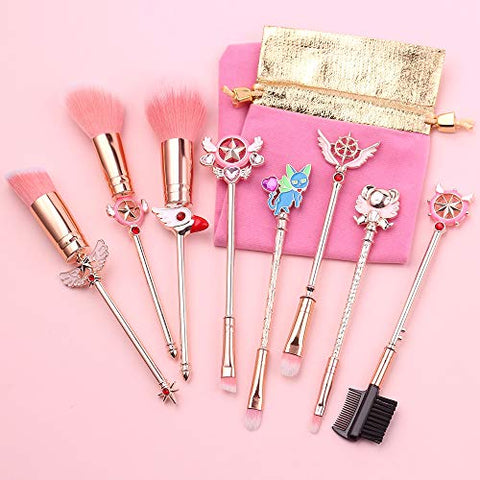 Sailor moon Makeup Brushes Cardcaptor Sakura Makeup outfit/Makeup Brush Momen Gift (Rose Gold Cardcaptor Sakura)