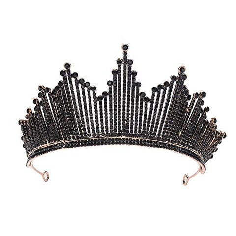 Black Baroque Crown Tiaras Queen Vintage Crystal Rhinestone Bridal for Women Bride Headbands Wedding Hair Jewelry