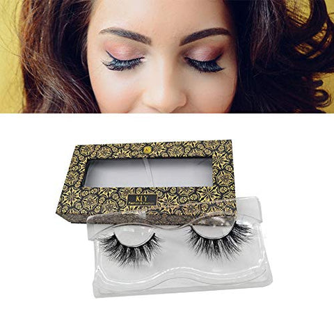 Keliya 5D Mink Eyelashes 25mm 1 Pair Handmade Reusable Dramatic Fluffy False Lashes for Daily Makeup, Professional Applications