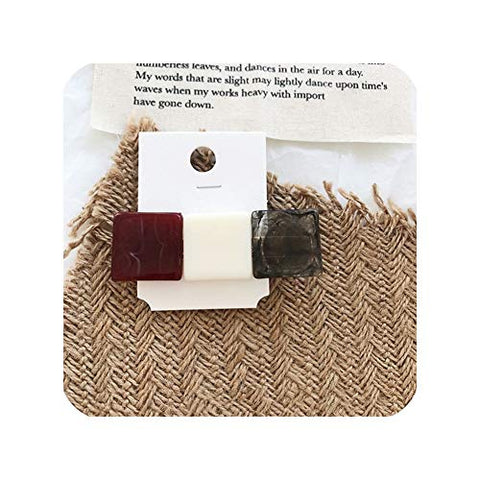 Resin HairpGeometric Square Hair Clips for Women Girls Hair Accessories Hairgrip,4