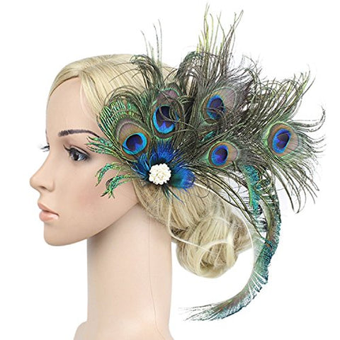 Vpang Vintage Elegant Peacock Feather Hair Clip Women Fascinator Hairpin Flapper Headpiece Hair accessories