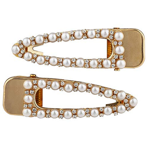 Lux Accessories Rhinestones Pearl Set of 2 Goldtone Hair Snaps Bridal Wedding Barrette