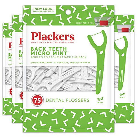 Plackers Back Teeth Micro Mint Dental Floss Picks, 75 Count (Pack of 4)