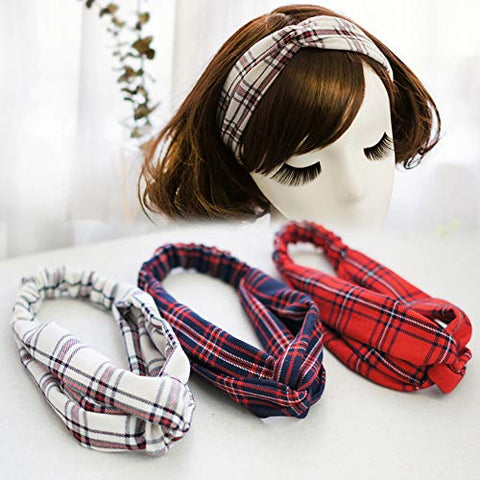 Women's Headbands British College Style Cross Head Wrap Elastic Boho Plaid Hair Band Accessories Sports Hair Band (A)