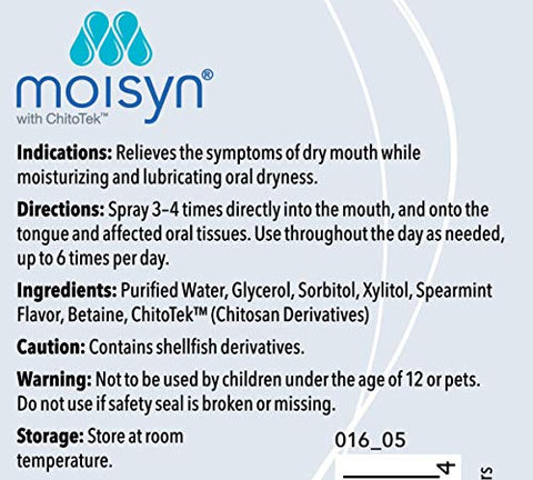 MOISYN Advanced Dry Mouth Relief Oral Spray (2 oz, 1 Pack) Moisturize & Soothe Dry, Irritated Oral Surfaces with Nontoxic, Naturally Derived Ingredients - Alcohol-Free Formula With Xylitol (1 Pack)
