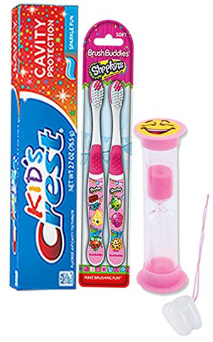 Shopkins 4pc. Bright Smile Oral Hygiene Set! Shopkins 2 Pack Manual Toothbrush, Crest Kids Sparkling Toothpaste & 2 Minute Teeth Brushing Timer! Plus Bonus