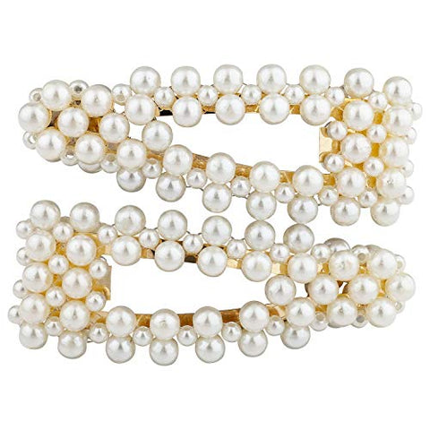 Lux Accessories White Pearl Set of 2 Goldtone Hair Snaps Bridal Wedding Barrette
