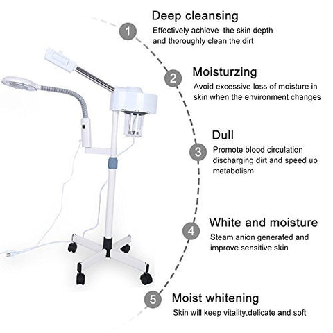 Professional Facial Steamer 3X/5X Magnifying LED Lamp Machine Multifunctional 2in1 Facial Steamer Spa Salon Beauty Facial Clean Skin Care Equipment (3X)