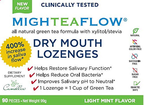 MighTeaFlow Sugar Free Dry Mouth Lozenges with Xylitol/Stevia, Light Mint, Clinically Tested by Dental Professionals, NO Artificial Flavors/Colors, NO Aspartame,and NO Titanium Dioxide