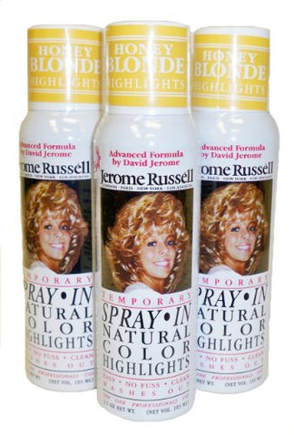 Jerome Russell Temporary Hair Color Spray Highlights - Shampoos Out - 3 Cans for 1 Low Price! (Honey Blonde)