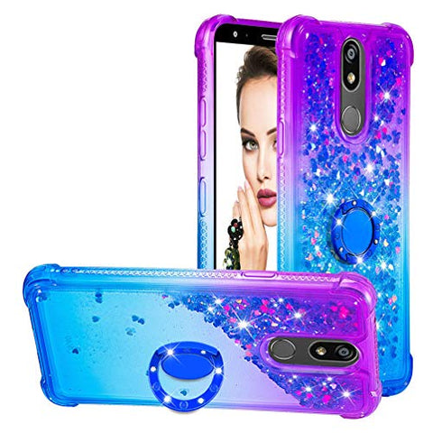 Tom's Village Clear Glitter Liquid Cover for LG K40/LG K10 2019 Color-Gradient 360 Ring Kickstand Bling Shiny Sparkling Moving Flowing Sequins Shockproof Flexible Soft TPU Bumper Protector Purple