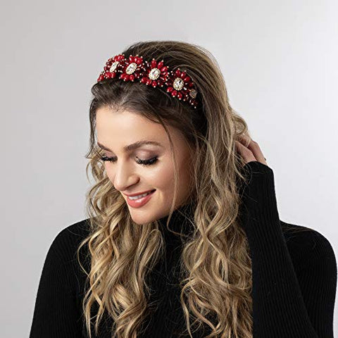 Somewhere Haute Crystal Flower Jeweled Headband (Ruby Red)