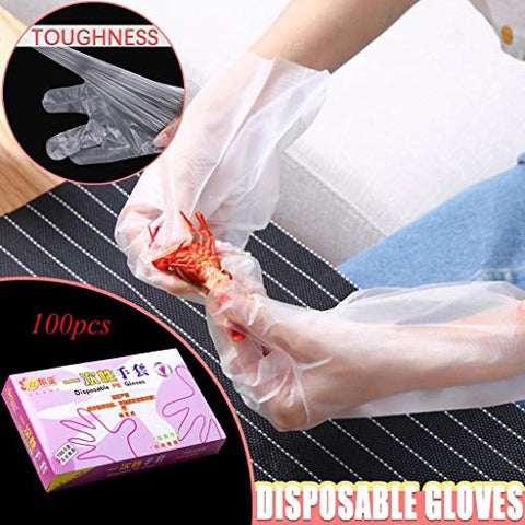 aartvark tees 100PCS Dis-pos-able Plastic PE Gloves Powder Free Food Grade One Size Fits Most All Purpose Gloves Transparent Protective Gloves Dis-pos-able for Food Handling