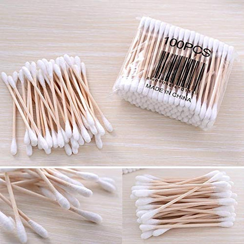 Double Head Cotton Swab Women Makeup Cotton Buds Tip For Medical Wood Sticks Nose Ears Cleaning Health Care Tools 5/10/20/Pack (10pack)