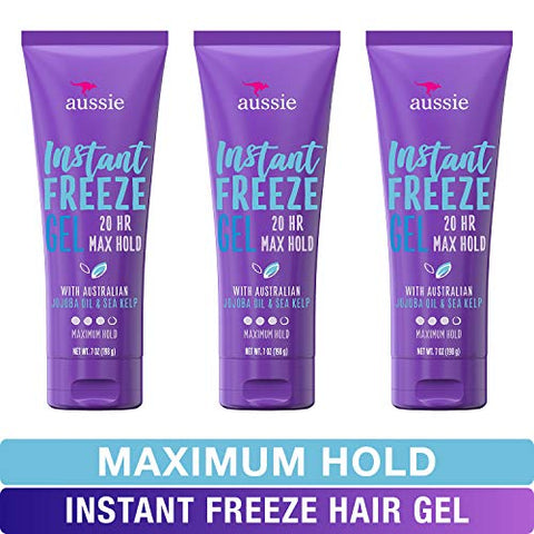 Aussie Instant Freeze Sculpting Maximum Hold Hair Gel with Jojoba Oil, Sea Kelp and Australian Aloe, 7 Oz (Triple Pack)(Packaging May Vary)